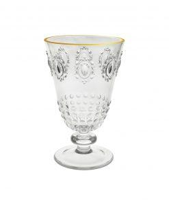 bicchiere da acqua con bordo dorato