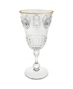 bicchiere vino trasparente con bordo dorato