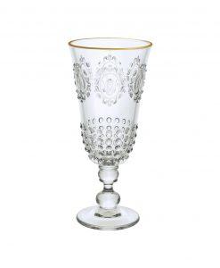 bicchierino da liquore acrilico trasparente con bordo dorato