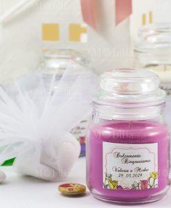 bomboniera candela profumata con targhetta personalizzata e sacchettino organza bianca