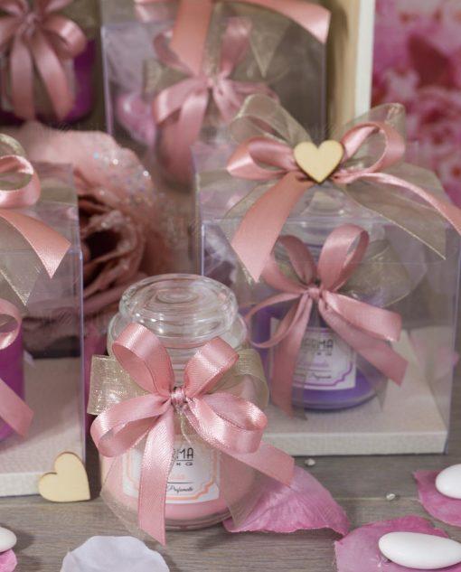 bomboniera candela profumata con vaso vetro nastri rosa antico e tortora