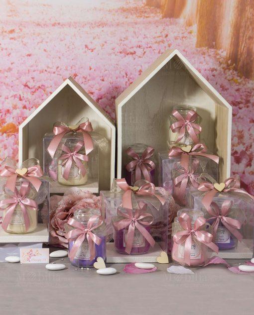 bomboniera candele profumate assortite con scatola nastri e cuore legno