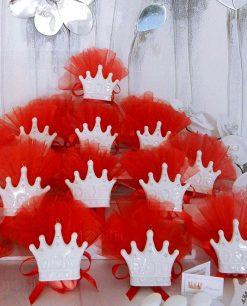bomboniera corona con calamita con tulle rosso