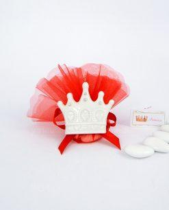 bomboniera magnete corona porcellana bianca