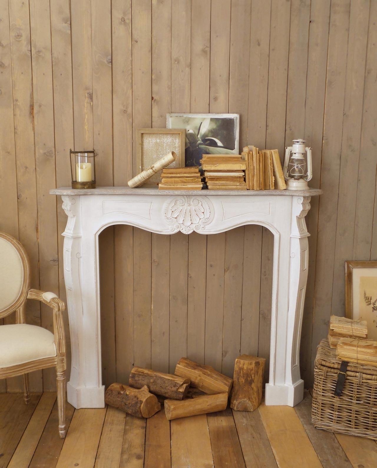 Camino Ad Angolo Tondo caminetto decorativo legno mogano bianco