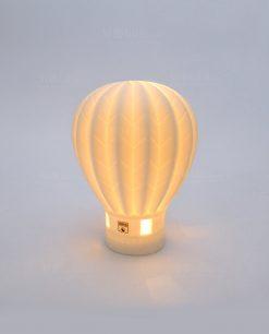 mongolfiera porcellana bianca decorata con luce led