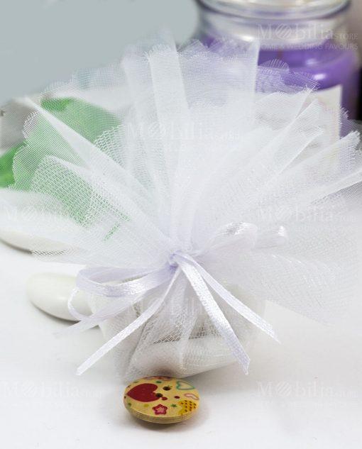 sacchettino organza bianca con confetti