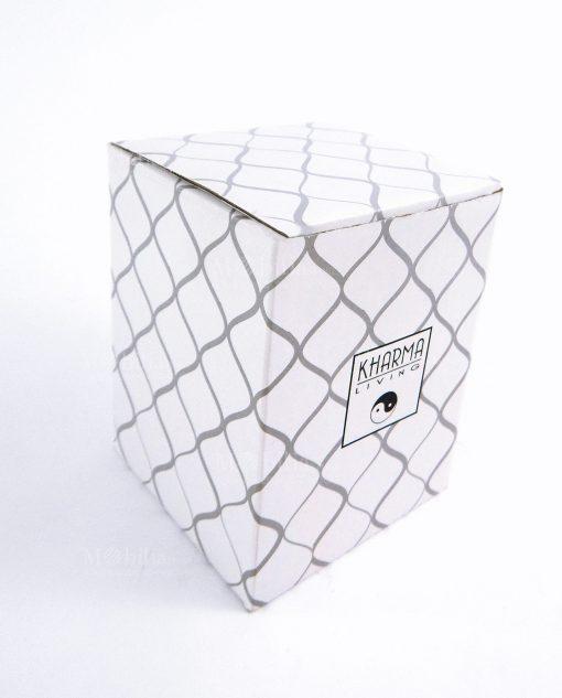 scatola cartoncino bianco con rombi kharma