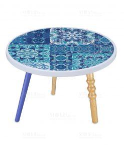 tavolino rotondo in melamina decorato blu