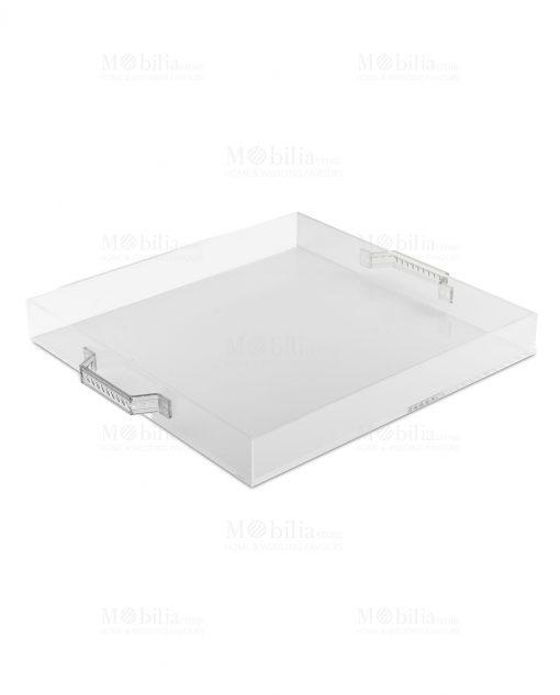 vassoio in plexiglass e manici in acrilico