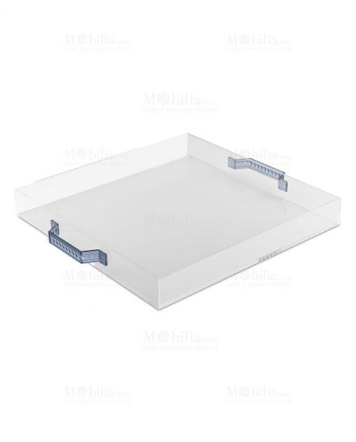 vassoio quadrato con manici blu