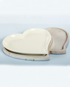antipastiera cuore con base legno