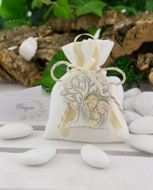 appendino albero della vita sacra famiglia su sacchetto portaconfetti
