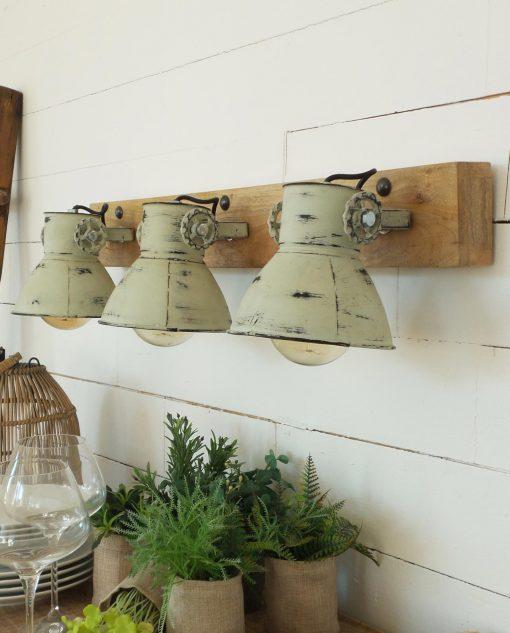applique legno e metallo 3 luci