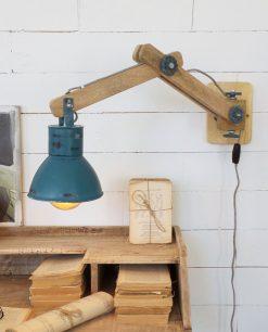 applique legno e metallo blu