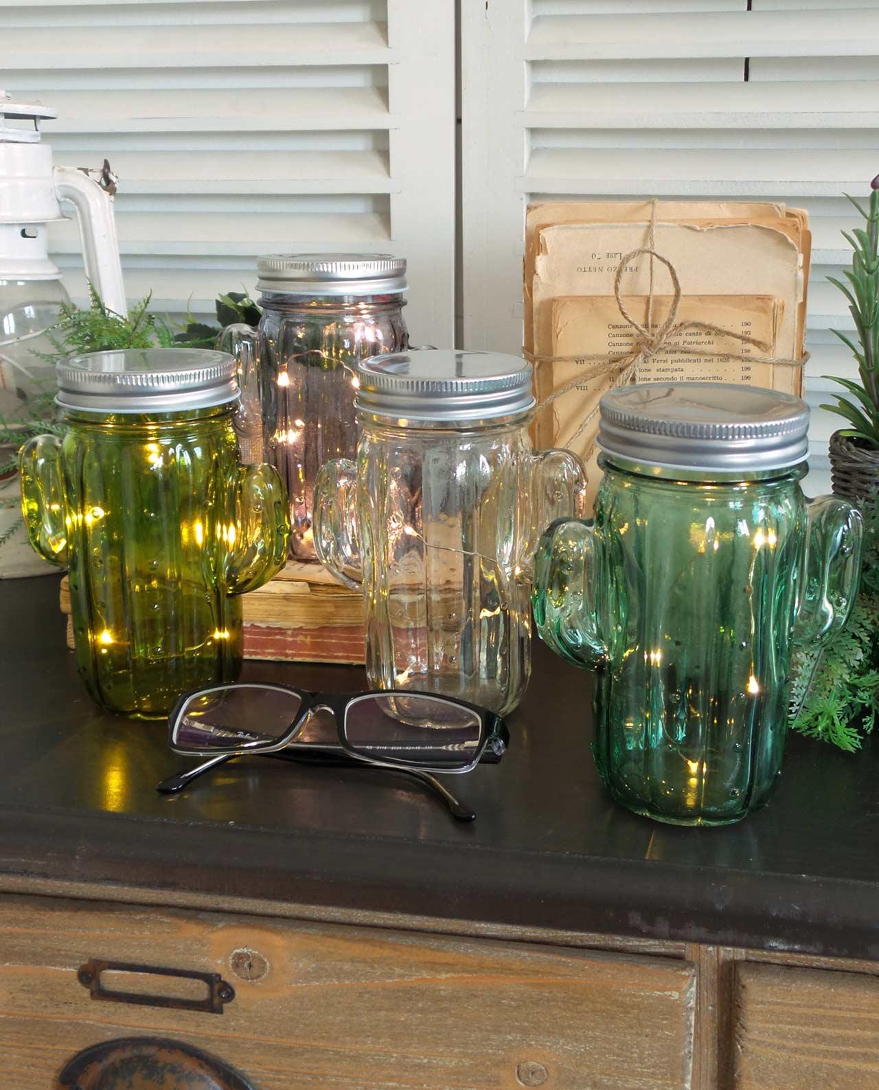 Barattoli cactus colorati con led set 4 pz mobilia store - Barattoli cucina colorati ...