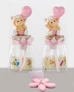 bomboniera barattolo vetro con bimba e palloncino confezionato con confetti