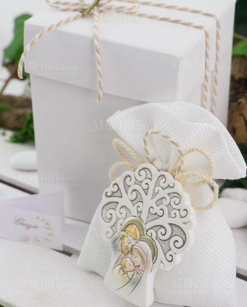 bomboniera icona albero della vita sacra famiglia su sacchetto con scatola
