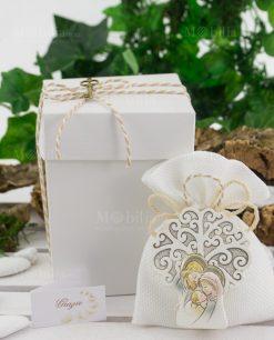bomboniera icona sacra famiglia con sacchetto e scatola