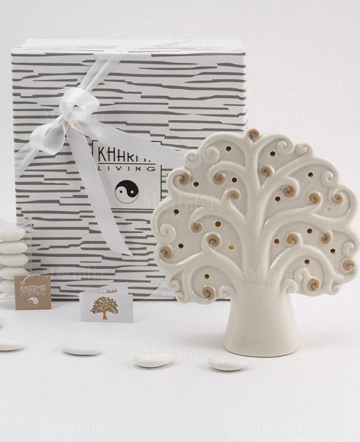 bomboniera lampada albero della vita grande con scatola e tubicino
