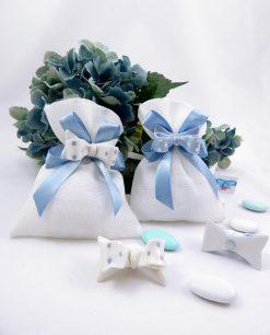 bomboniera magnete fiocco azzurro e bianco a pois