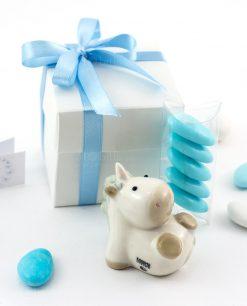 bomboniera piccola scultura porcellana bianca unicorno bimbo