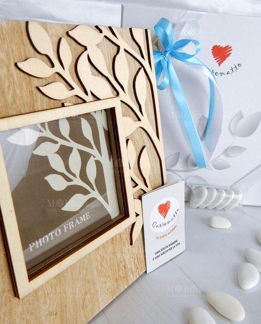 bomboniera portafoto albero della vita legno cuorematto