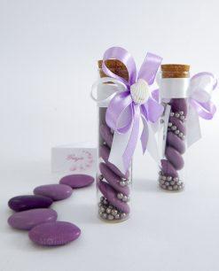 bomboniera provetta vetro con confetti lilla e fiocco lilla