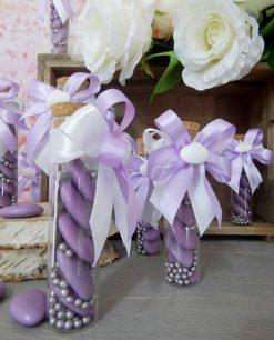 bomboniera provetta vetro con fiocco lilla e conchiglia