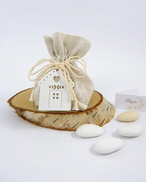 bomboniera sacchetto portaconfetti avorio con casetta legno