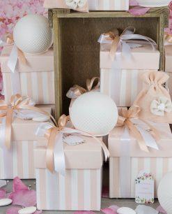 bomboniera sfera a led con scatola e sacchetto portaconfetti rosa