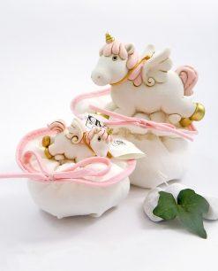 bomboniera unicorni rosa su sacchettino ad emozioni