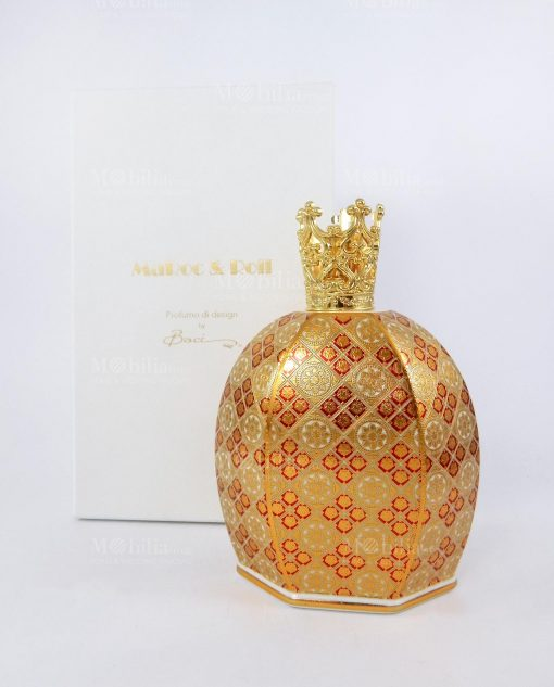 bottiglia catalitica 550 ml porcellana decorata louis XIV con corona collezione royal family baci milano