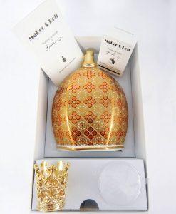 bottiglia catalitica porcellana decorata louis XIV con scatola e accessori baci milano royal family