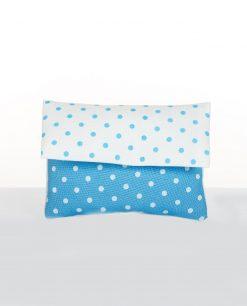 bustina portaconfetti in cotone azzurro con pois
