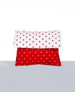 bustina portaconfetti in cotone rosso con pois