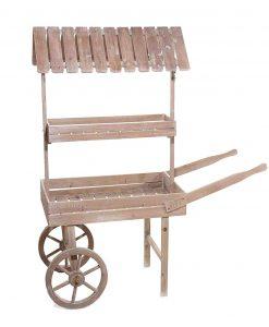 carretto espositore legno marrone 2 ripiani