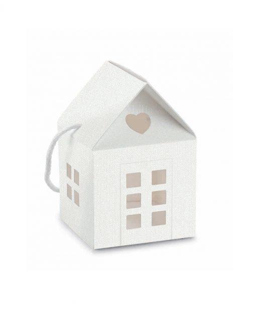 casetta in cartoncino bianco effetto lino con cordoncino per bomboniere