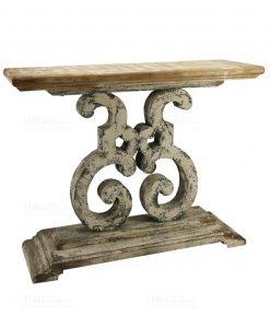 consolle legno e gambe decorate