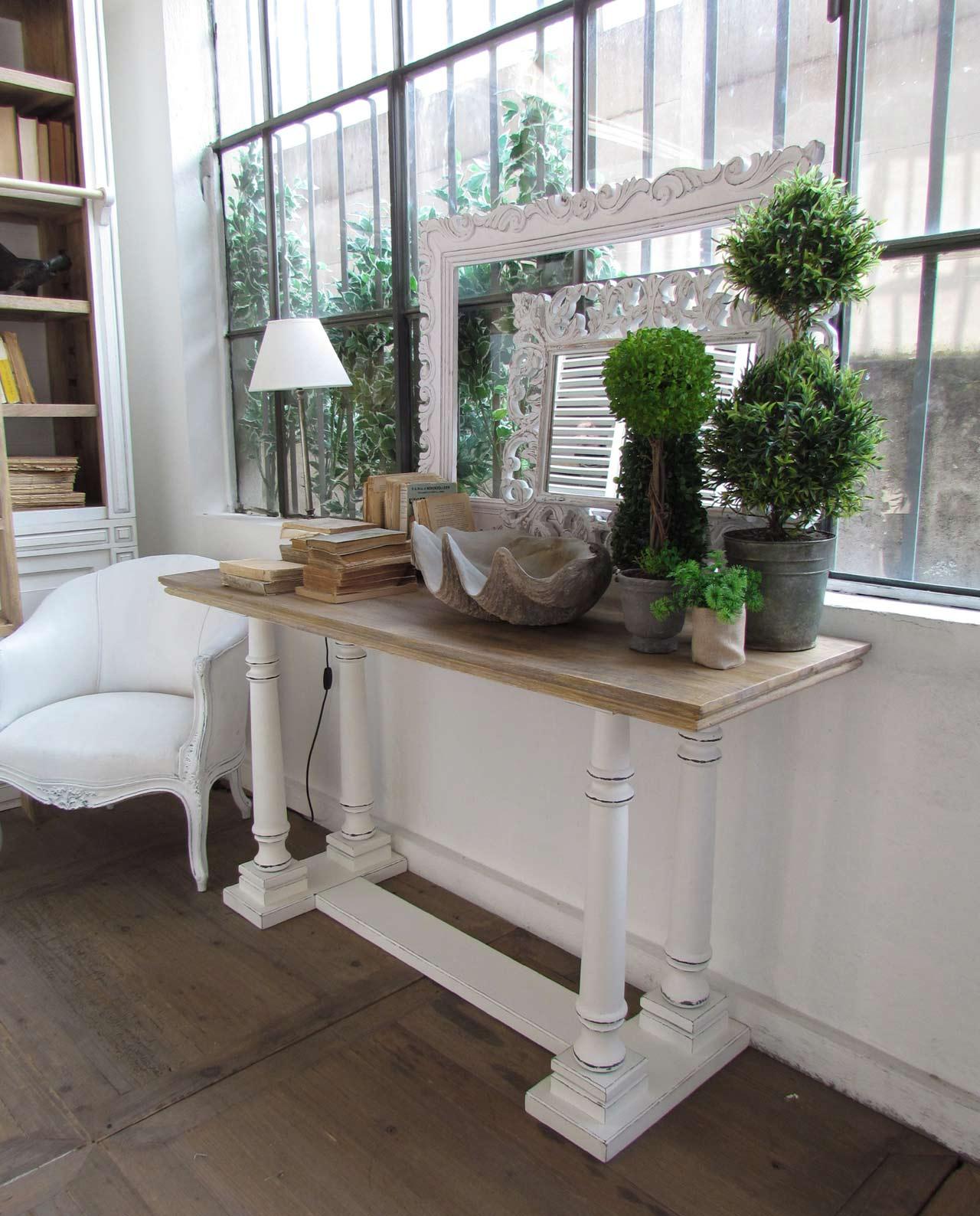 Consolle legno mango massello bianco top legno naturale - Mobilia ...