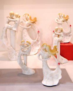 coppia sposini stilizzati resina con decori floreali