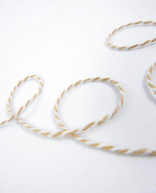 cordoncino cotone naturale bianco e beige