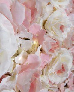 dettaglio pannello fiori ortensie rosa con luci led
