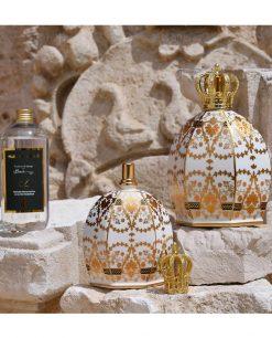 diffusore bottiglia catalitica 1 lt e 550 ml porcellana decorata elizabeth baci milano royal family
