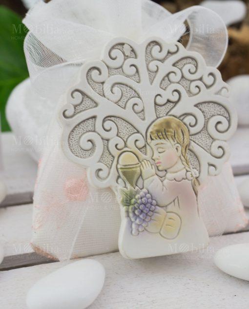 icona albero della vita bimba e calice eucaristico su sacchetto