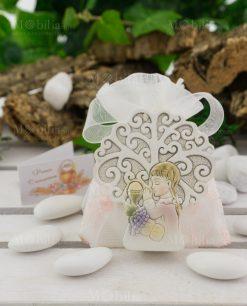 icona albero della vita bimba e calice eucaristico su sacchetto portaconfetti