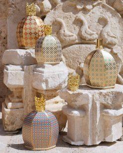lampada catalitica bottiglia decorata con corona oro baci milano collezione royal family