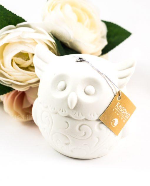 lampada ceramica bianca gufo