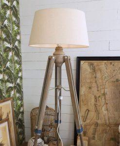 lampada da terra con 3 piedi legno