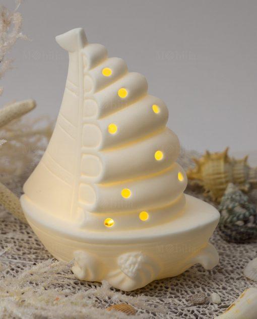 lampada led porcellana bianca barca a vela